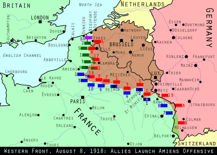 Maps of World War I positions in August 1918