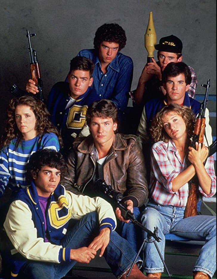 Charlie Sheen, Jennifer Grey, Patrick Swayze, Lea Thompson, C. Thomas Howell, Darren Dalton, Brad Savage, and Doug Toby in 'Red Dawn' (1984)