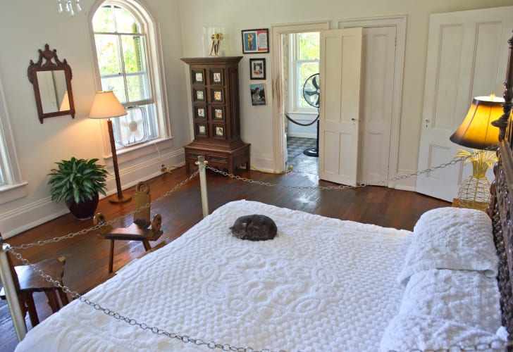 A cat sleeps on the bed at the home and museum of author Ernest Hemingway on February 18, 2013 in Key West, Florida, where Hemingway lived and wrote for more than ten years