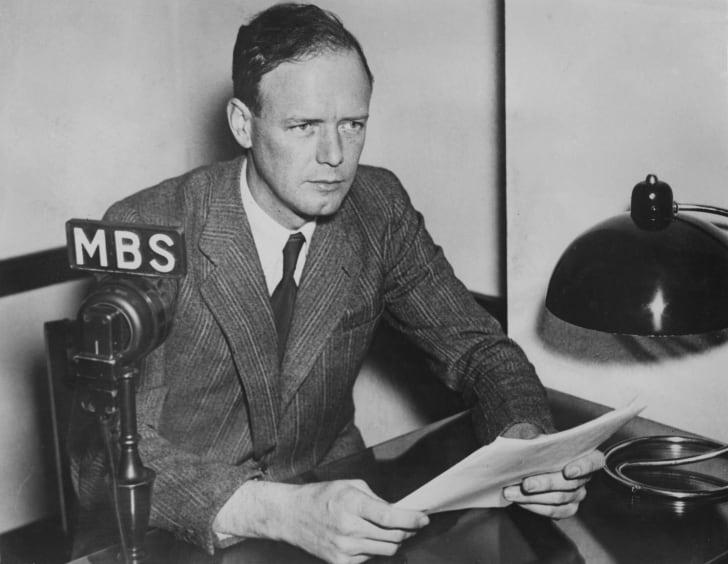 Charles Lindbergh giving a radio speech