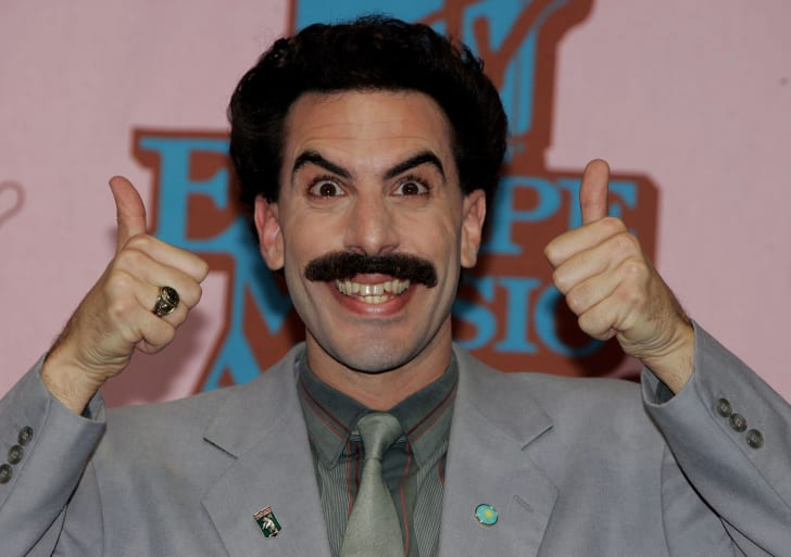 Awards host Borat poses in the Awards Room at the 12th annual MTV Europe Music Awards 2005 at the Atlantic Pavilion on November 3, 2005 in Lisbon, Portugal