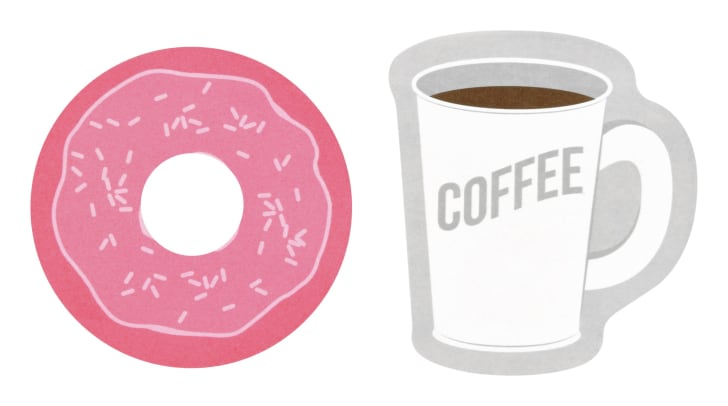 coffee and doughnut Post-its
