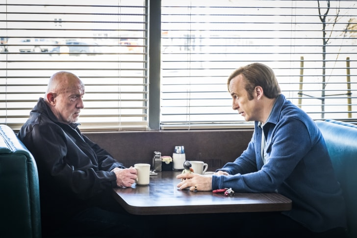 Jonathan Banks as Mike Ehrmantraut and Bob Odenkirk as Jimmy McGill in 'Better Call Saul'