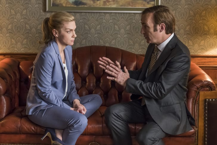 Rhea Seehorn as Kim Wexler and Bob Odenkirk as Jimmy McGill in 'Better Call Saul'