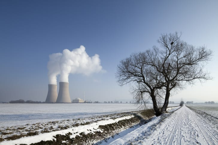nuclear power plant during the winter
