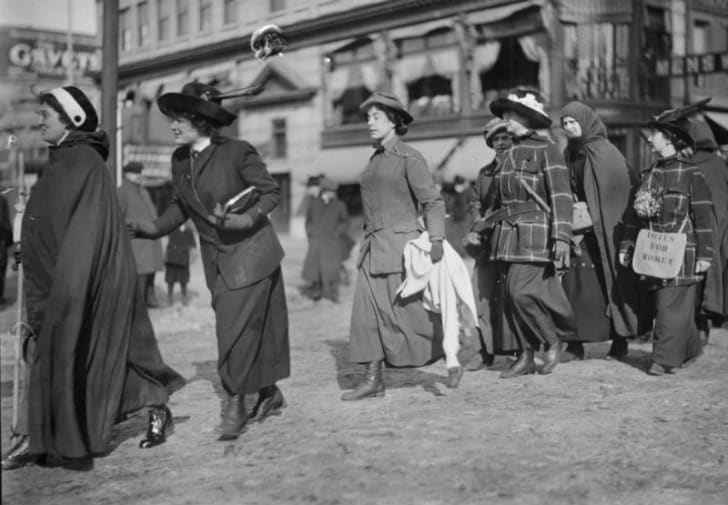 Women protest in a demonstration for the right to vote