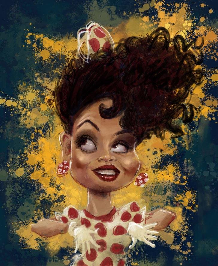 A caricature of Carlotta Valdez
