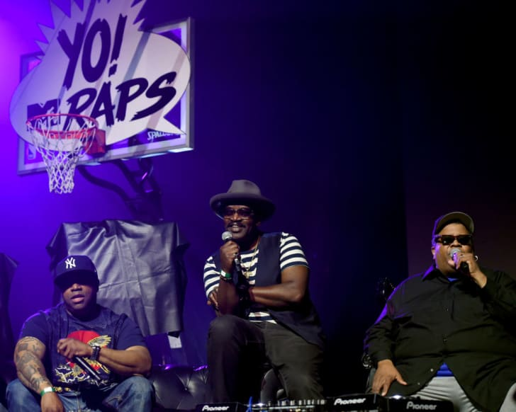 T money, Fab 5 Freddy and Dr. Dre onstage during the YO! MTV Raps 30th Anniversary Live Event at Barclays Center on June 1, 2018 in New York City