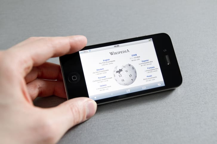 iPhone with wikipedia on screen
