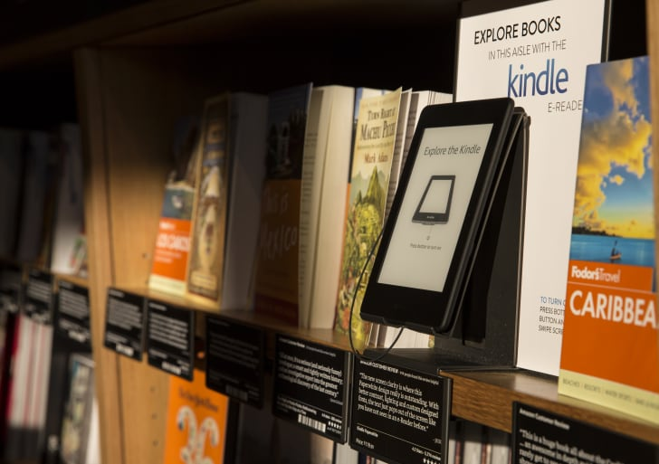 kindle on shelf in book store