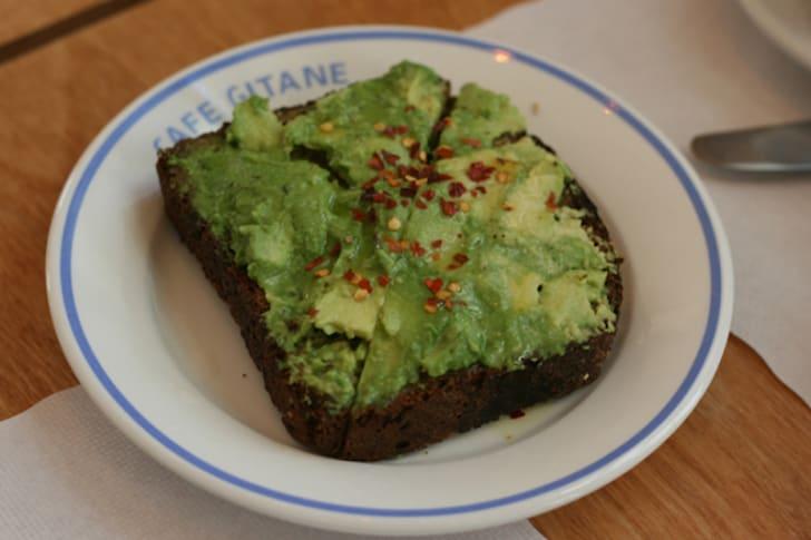 The avocado toast at New York City's Café Gitane.
