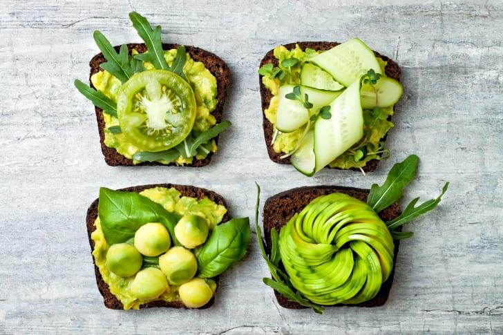 Four types of avocado toast.