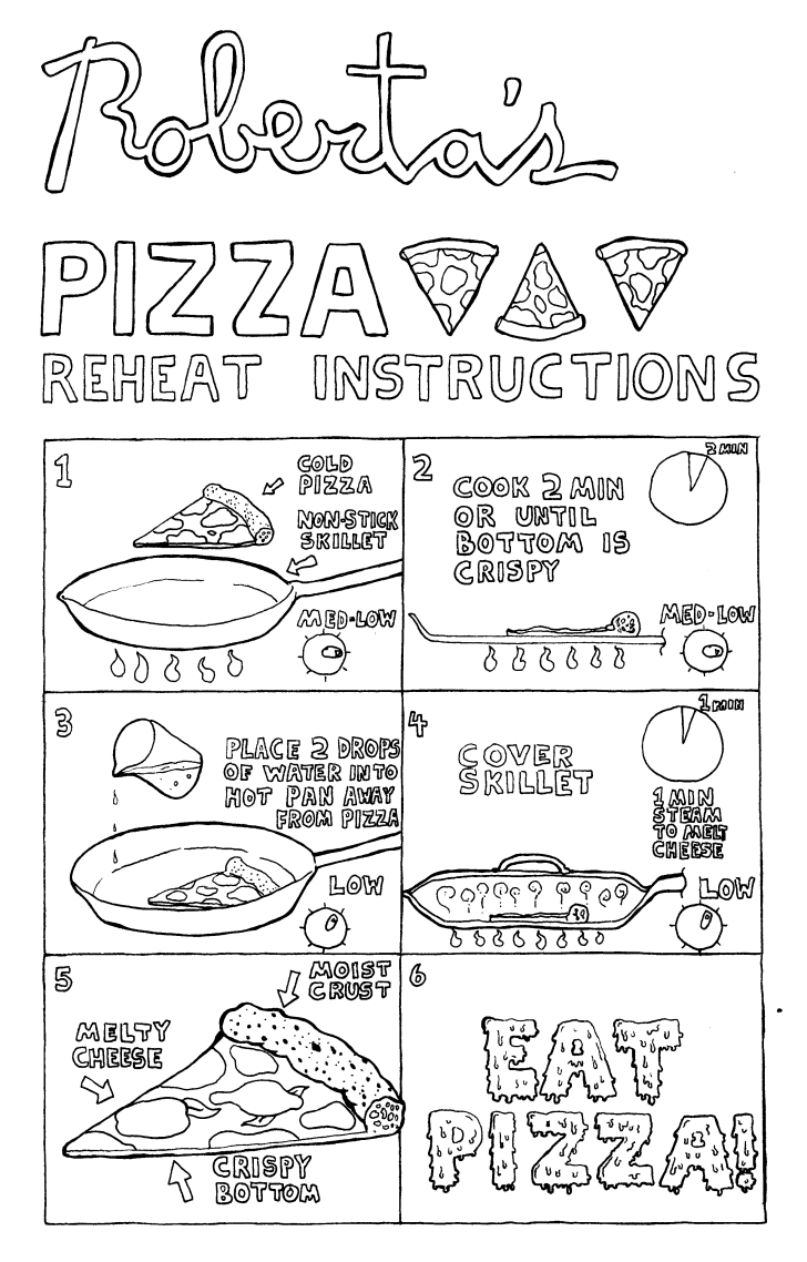 Illustrated instructions for reheating pizza