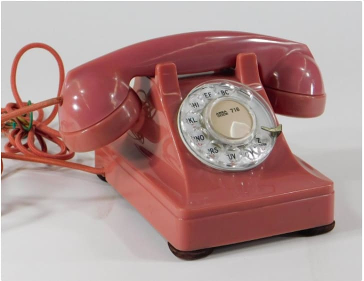 Rare Western Electric 302 rose rotary phone, circa 1953.