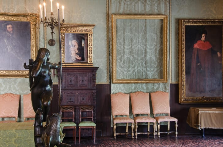 Empty frames at the Isabella Stewart Gardner Museum