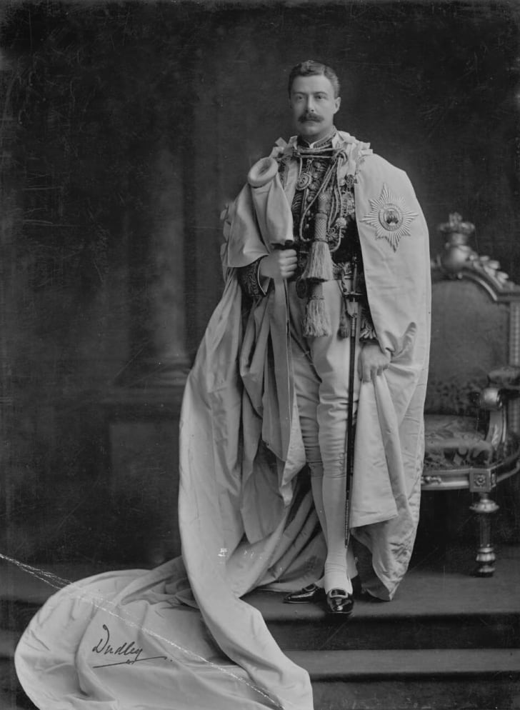 Lord Dudley, Grand Master of the Order of St. Patrick, wearing the Irish Crown Jewels