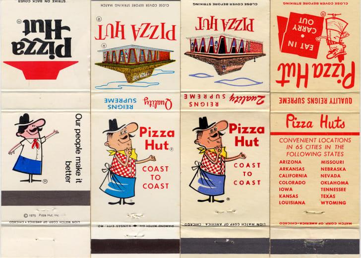image of vintage Pizza Hut restaurants featuring mascot Pizza Pete