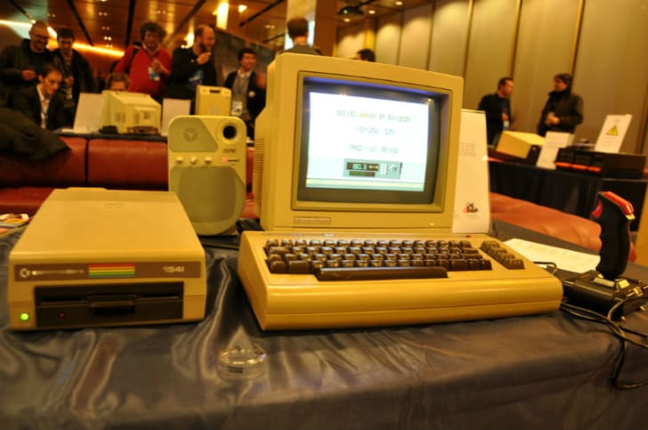 A Commodore 64 computer is set up for public display