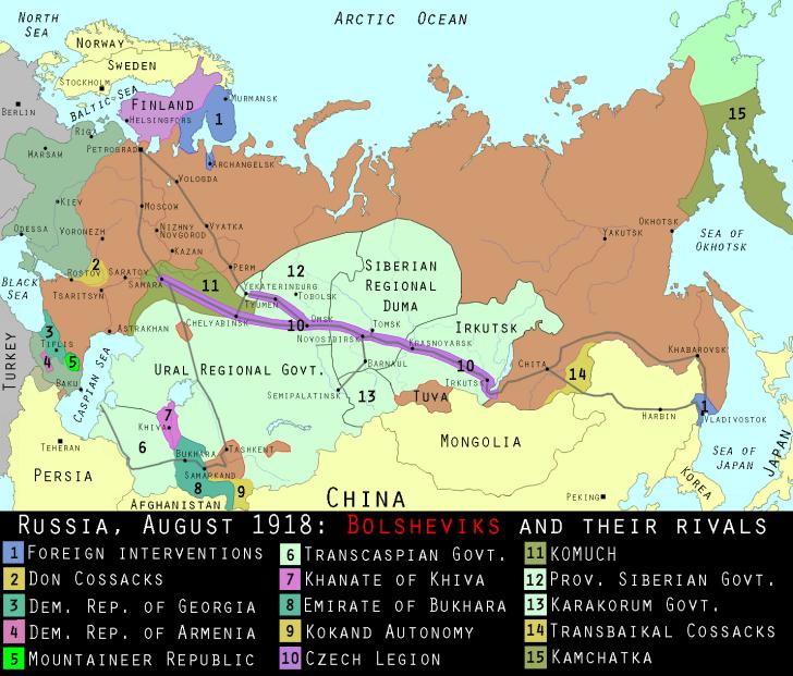 Map of Russian civil war, 1918