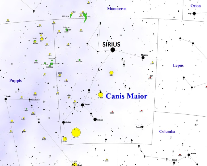 Canis Major constellation map, with DSOs
