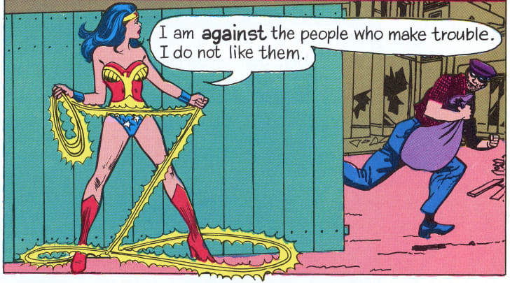 A panel of a Wonder Woman comic from 1978.