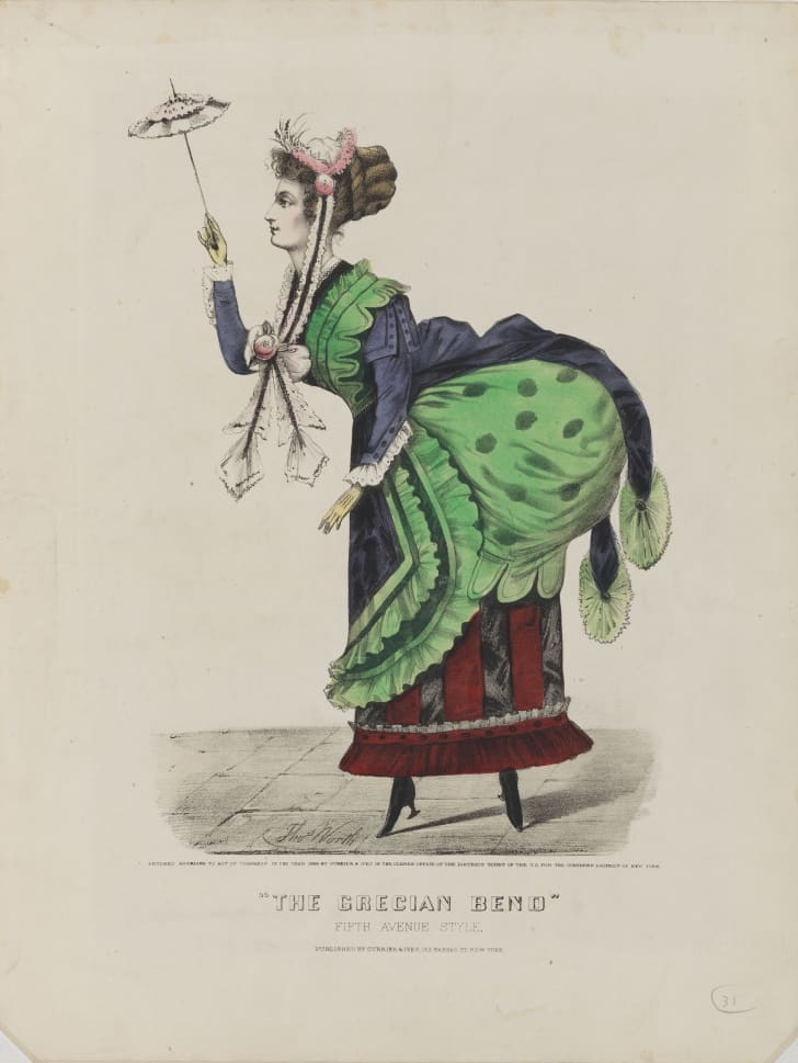 "A caricatures of the ""Grecian bend"""