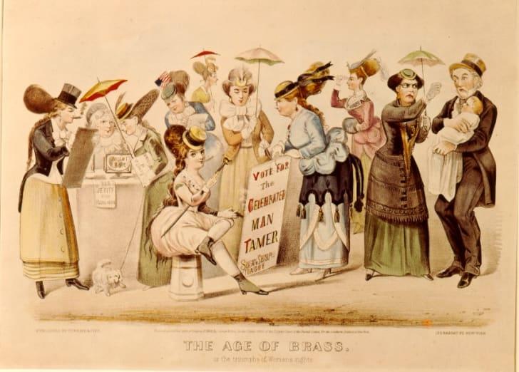 An illustration of women voting
