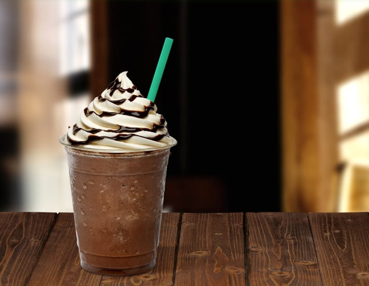 image of a frappucino sitting on a table