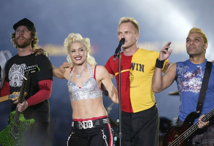 image of No Doubt band members at a Super Bowl performance
