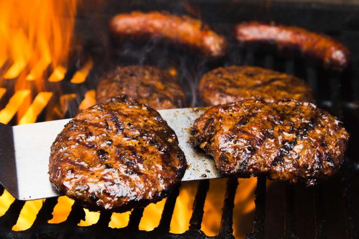 image of hamburger patties on a grill