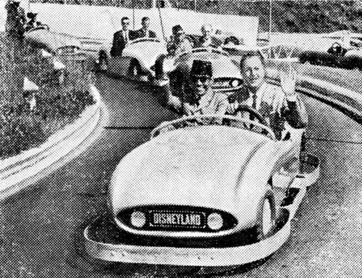 Sukarno riding mini car with Walt Disney