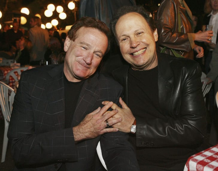 Actors Robin Williams (L) and Billy Crystal pose at the afterparty for the premiere of Columbia Picture's 'RV' on April 23, 2006 in Los Angeles, California