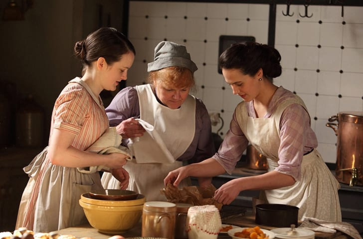 Lesley Nicol, Sophie McShera, and Jessica Brown Findlay in 'Downton Abbey'