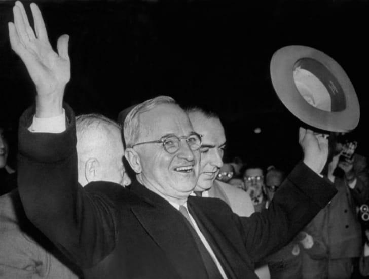 Harry Truman celebrates his 1948 election win