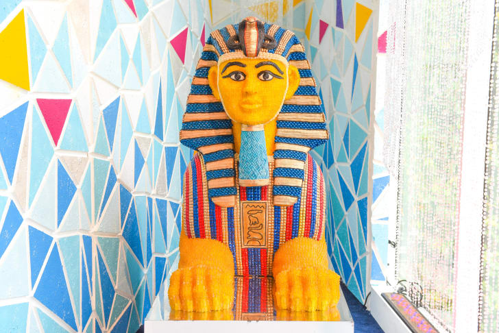 An Egyptian-inspired statue made of candy