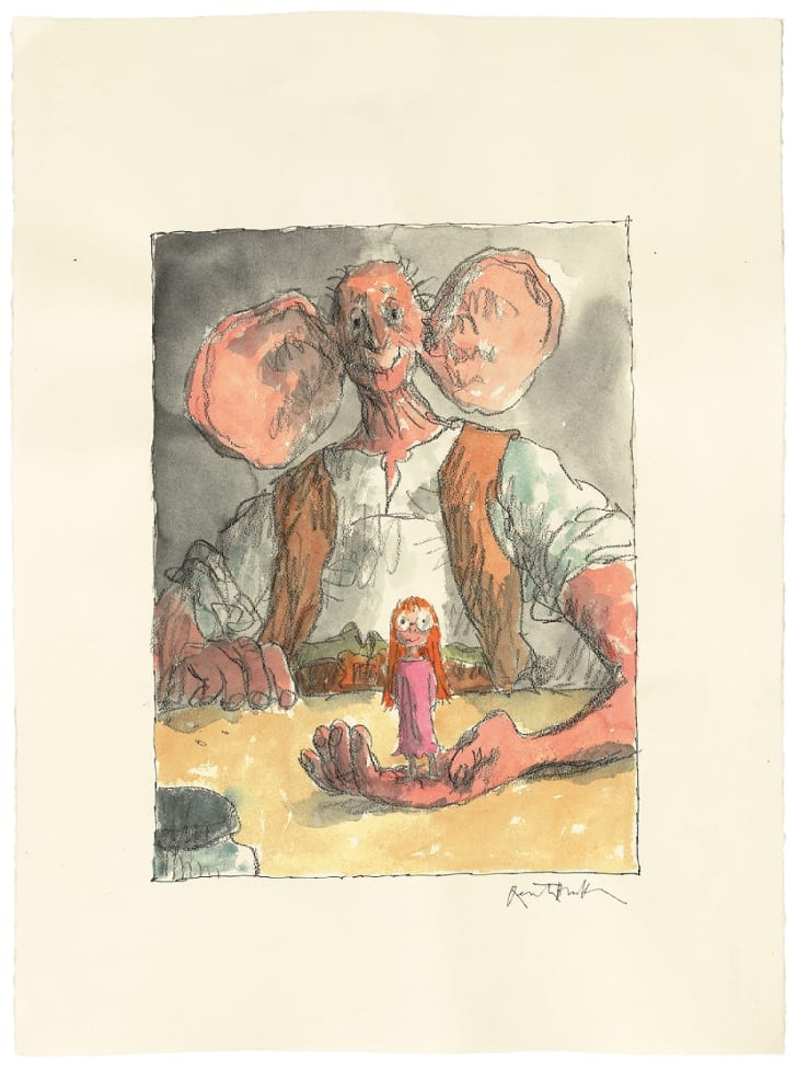 A watercolor of the BFG holding Sophie in the palm of his hand