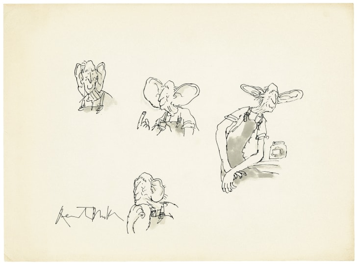 Four illustrations showing the BFG with his ears in different positions