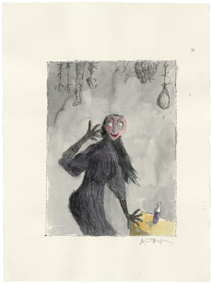 A watercolor image of a witch dressed in black