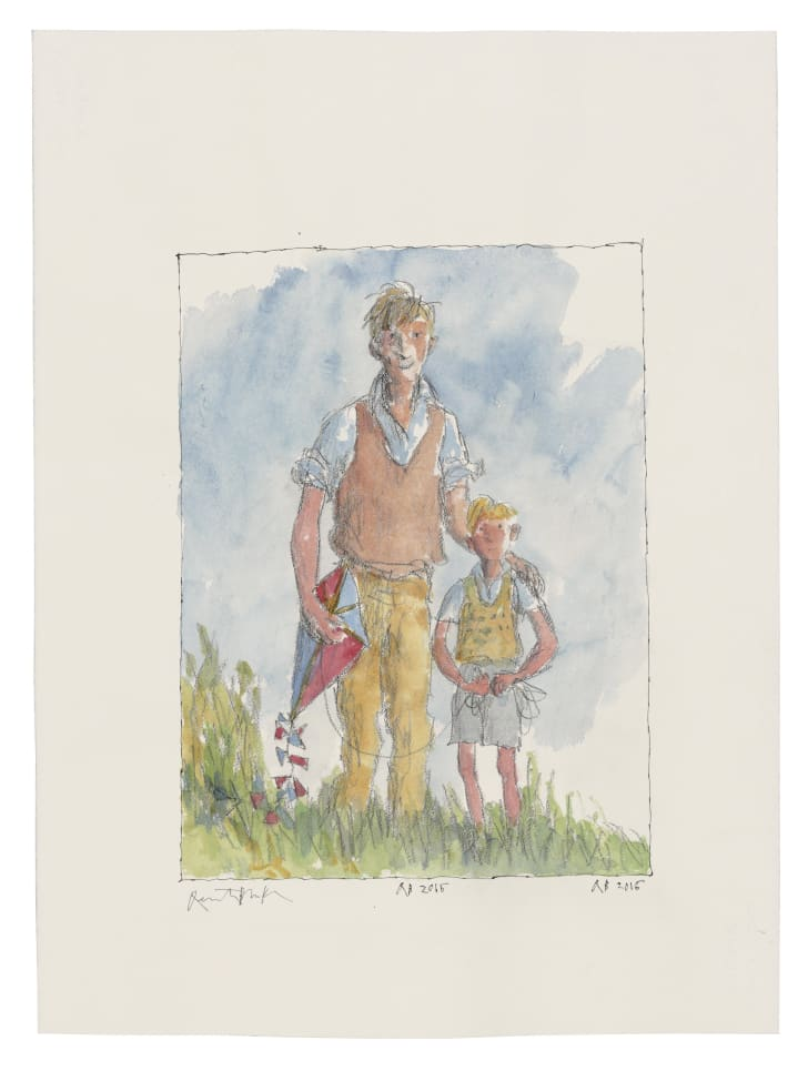 A watercolor of a father with his arm around his son, holding a kite