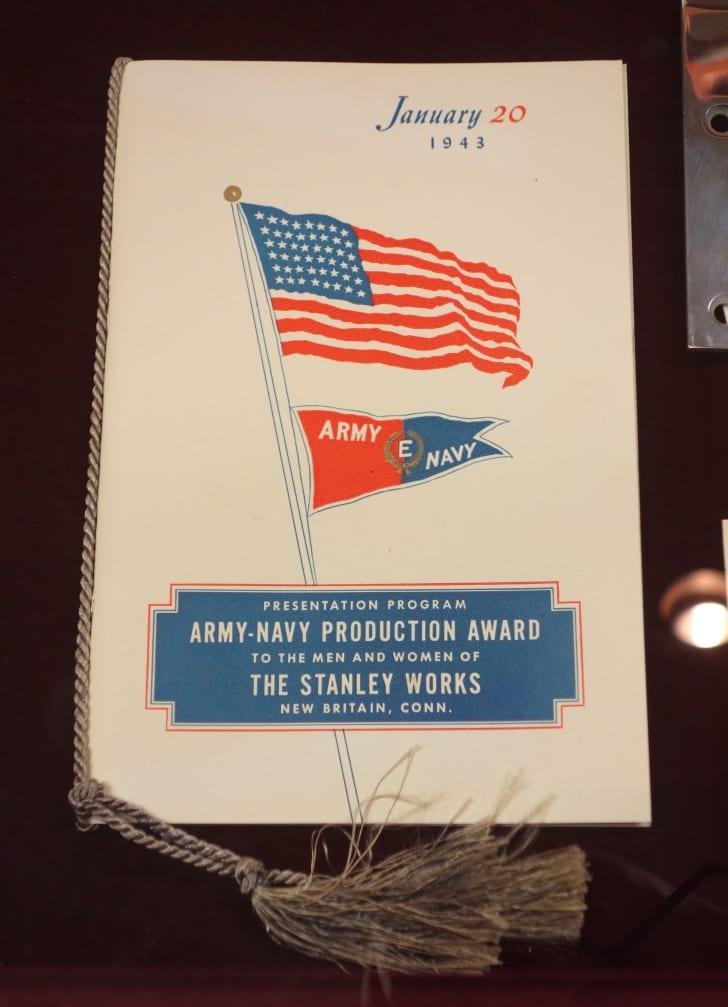 WWII Army-Navy Production Award to Stanley Works presentation program, January 20, 1943