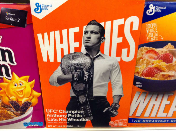 MMA star Anthony Pettis on the front of a Wheaties box.