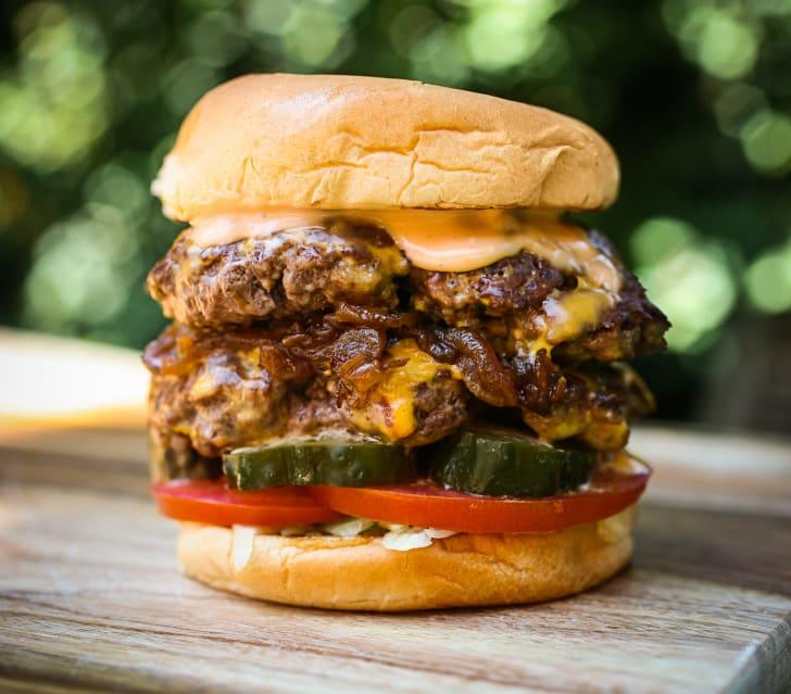 Image of a double stack Shake Shake cheeseburger