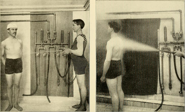 A patient receives hydrotherapy in 1902