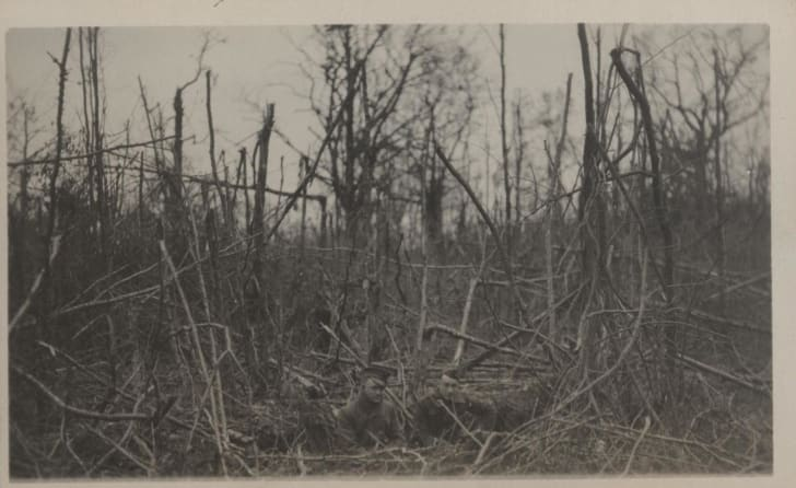 U.S. Marines in a shell hole at Belleau Wood, WWI