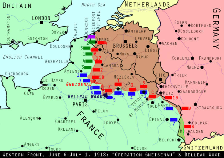 Map of the Western Front, June 6-July 1, 1918