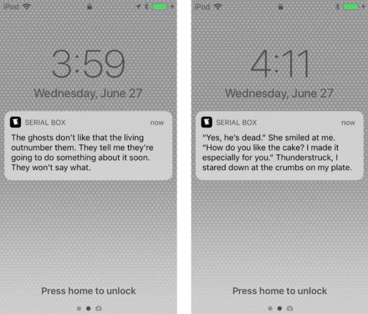 Phone screens with push notifications.