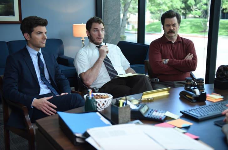 Adam Scott, Chris Pratt, and Nick Offerman in 'Parks and Recreation'