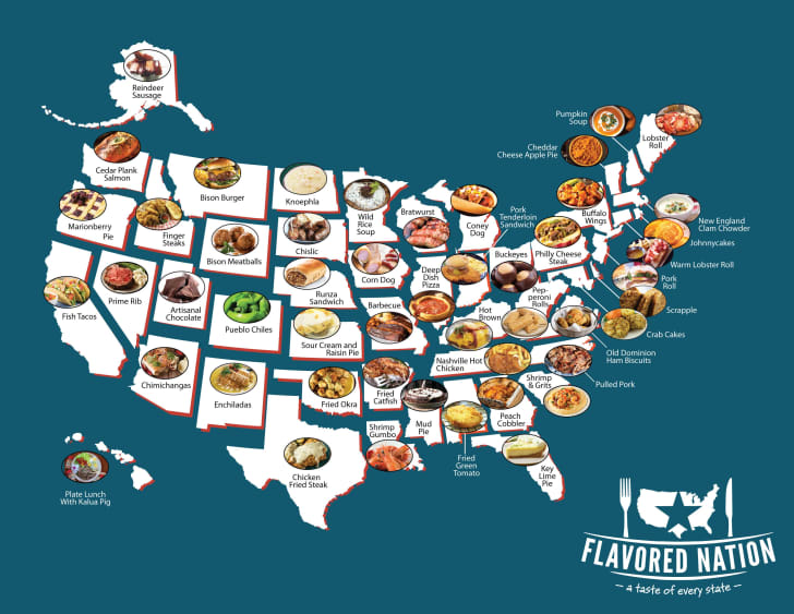 A map of the U.S. with a photo of a regional food placed within each state