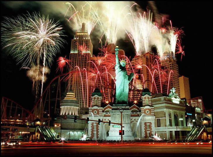 Fireworks at the opening of the New York, New York hotel in Las Vegas