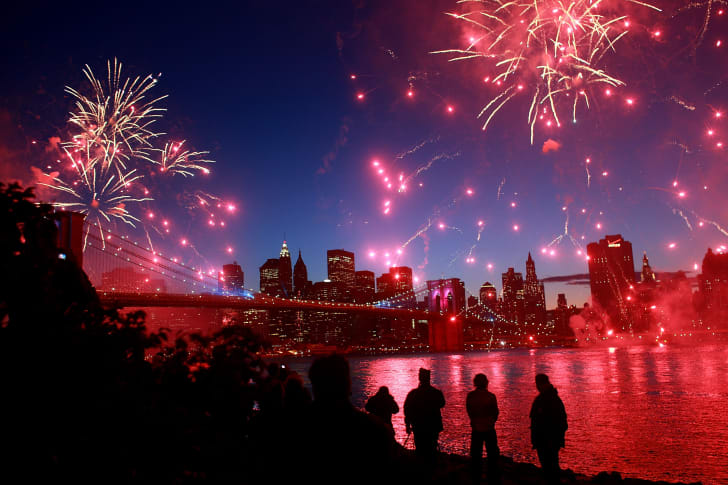 Fireworks over the Brooklyn Bridge in 2018